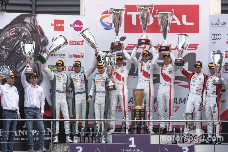 Podio: Ganador de la carrera #25 Audi Sport Team Sainteloc Racing Audi R8 LMS: Markus Winkelhock, Christopher Haase, Jules Gounon, segundo lugar #8 Bentley Team M-Sport Bentley Continental GT3: Andy Soucek, Maxime Soulet, Vincent Abril, y tercer lugar #90 Akka ASP Mercedes-AMG GT3: Michael Meadows, Raffaele Marciello, Edoardo Mortara