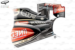 Lotus E22 rear end detail, note scoop on the engine covers spine, which releases heat rejected by the turbo below