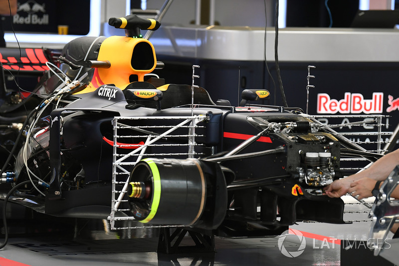 Red Bull Racing RB13 in the garage with aero sensors