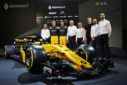 (L to R): Bob Bell, Renault Sport F1 Team Chief Technical Officer; Nico Hulkenberg, Renault Sport F1 Team; Jolyon Palmer, Renault Sport F1 Team; Jerome Stoll, Renault Sport F1 President; Alain Prost, Renault Sport F1 Team; Thierry Koskas, Renault Executive