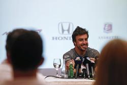 Fernando Alonso announces his deal to race in the 2017 Indianapolis 500 in an Andretti Autosport run McLaren Honda car