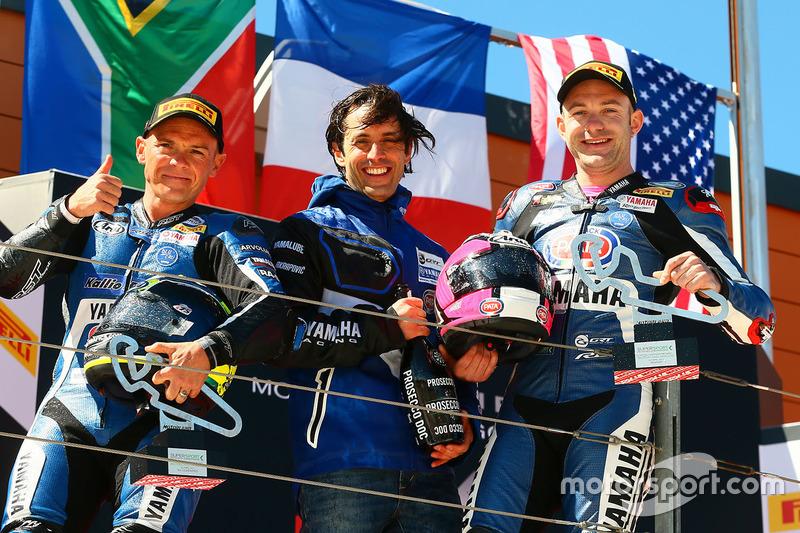 Podium: ganador, Lucas Mahias, GRT Yamaha Official WorldSSP Team, segundo, Sheridan Morais, Kallio Racing