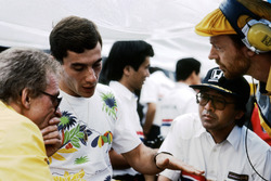 Gerard Ducarouge, Lotus Designer, Ayrton Senna, Lotus, Osamu Goto, Honda Racing Team Leader, and Steve Hallam, Lotus Engineer