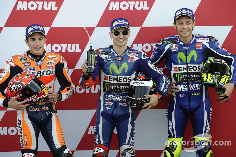 Polesitter Jorge Lorenzo, Yamaha Factory Racing, second place Marc Marquez, Repsol Honda Team, third place Valentino Rossi, Yamaha Factory Racing