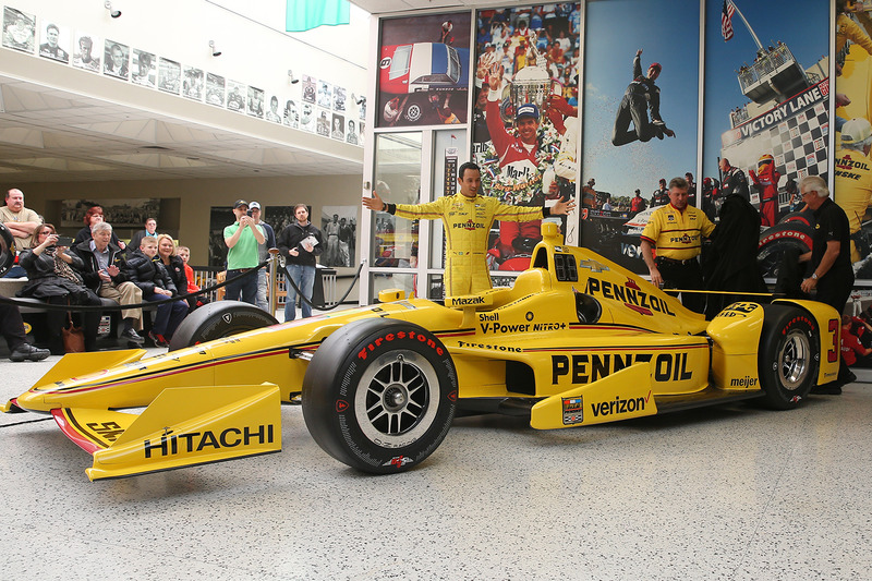 Helio Castroneves, Team Penske Chevrolet unveils his Pennzoil livery for the 100th Indy 500
