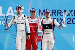 Sébastien Buemi, Renault e.Dams, Felix Rosenqvist, Mahindra Racing, Sam Bird, DS Virgin Racing, sul podio