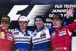 Winner Damon Hill, Williams, Adrian Newey, Williams, second place Michael Schumacher, Ferrari, third place Mika Hakkinen, McLaren