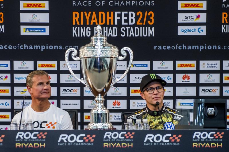 Il vincitore David Coulthard e Petter Solberg nella conferenza stampa