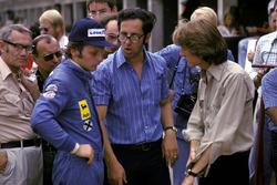 Niki Lauda, Ferrari, mit Mauro Forghieri, Ferrari-Designe, und Luca di Montezemolo, Ferrari-Teammanager