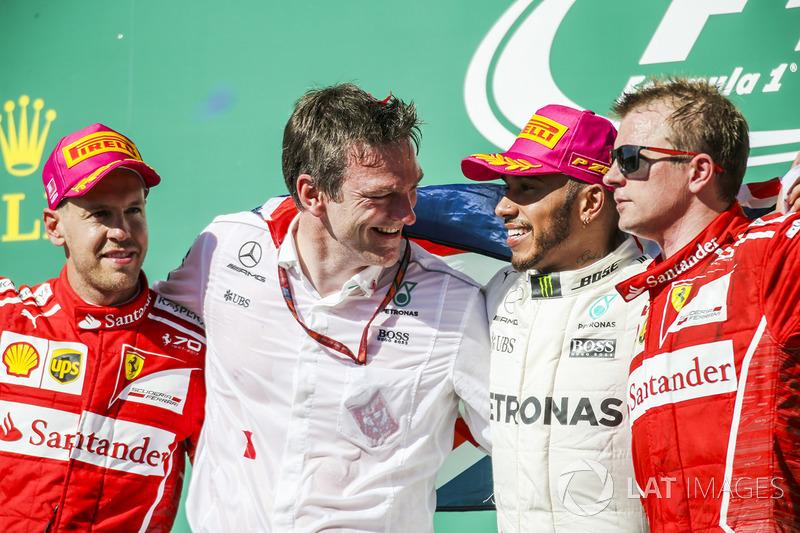 Себастьян Феттель, Ferrari, технічний директор Mercedes AMG F1 Джеймс Еллісон, Льюіс Хемілтон, Mercedes AMG F1, Кімі Райкконен, Ferrari