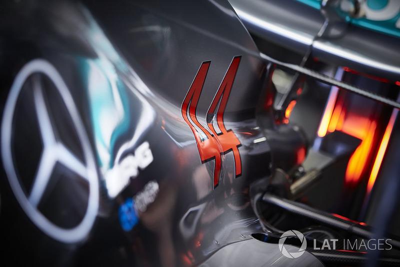 Rear bodywork of the Mercedes AMG F1 W09 of Lewis Hamilton, Mercedes AMG F1