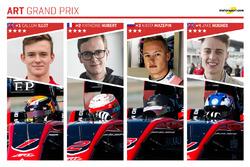 ART Grand Prix et ses pilotes : Callum Ilott, Anthoine Hubert, Nikita Mazepin et Jake Hughes