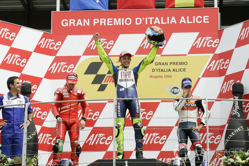 Podium: 1. Valentino Rossi, Yamaha Factory Racing; 2. Casey Stoner, Ducati Team; 3. Dani Pedrosa, Repsol Honda Team