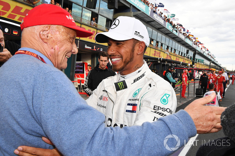 Pole sitter Lewis Hamilton, Mercedes-AMG F1 celebrates in parc ferme with Niki Lauda, Mercedes AMG F1 Non-Executive Chairman