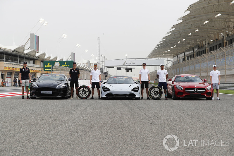 Max Verstappen, Red Bull Racing, Daniel Ricciardo, Red Bull Racing, with the Aston Martin Vanquish S. Fernando Alonso, McLaren, and Stoffel Vandoorne, McLaren, with the McLaren 720s. Lewis Hamilton, Mercedes AMG F1, and Valtteri Bottas, Mercedes AMG F1, with the Mercedes AMG GTR, on grid for the Pirelli Hot Laps