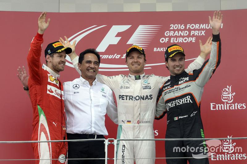 1. Nico Rosberg, 2. Sebastian Vettel, 3. Sergio Perez