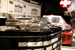 The car of Austin Dillon, Richard Childress Racing Chevrolet Camaro with the trophy