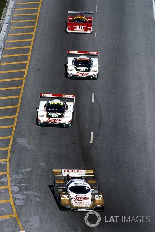 John Andretti, Bob Wollek and Derek Bell head to Daytona 24 Hours victory in 1989 driving a Porsche 962.