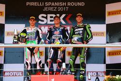 Podium: Jules Cluzel, CIA Landlord Insurance Honda, Federico Caricasulo, GRT Yamaha Official WorldSSP Team, Anthony West, EAB West Racing