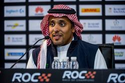 Il principe Khaled Al Faisal, Presidente della Federazione Motoristica dell'Arabia Saudita nella conferenza stampa