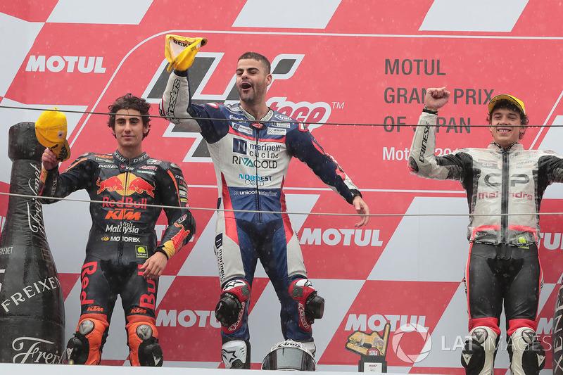 Podio: ganador Romano Fenati, Snipers Team, Niccolo Antonelli, Red Bull KTM Ajo, Marco Bezzecchi, CIP-Unicom Starker