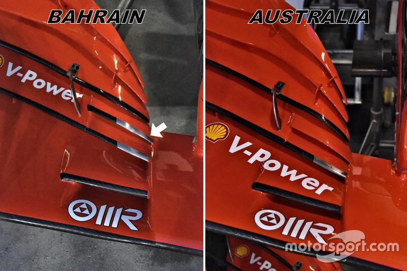 Ferrari SF71H vergelijking van de voorvleugels