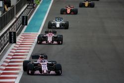 Sergio Perez, Force India VJM10, leads Esteban Ocon, Force India VJM10, and Felipe Massa, Williams FW40