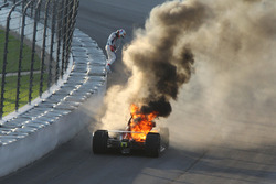 Matheus Leist, A.J. Foyt Enterprises Chevrolet on fire