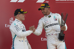 Valtteri Bottas, Mercedes AMG F1, 2nd position, Lewis Hamilton, Mercedes AMG F1, 1st position, on the podium