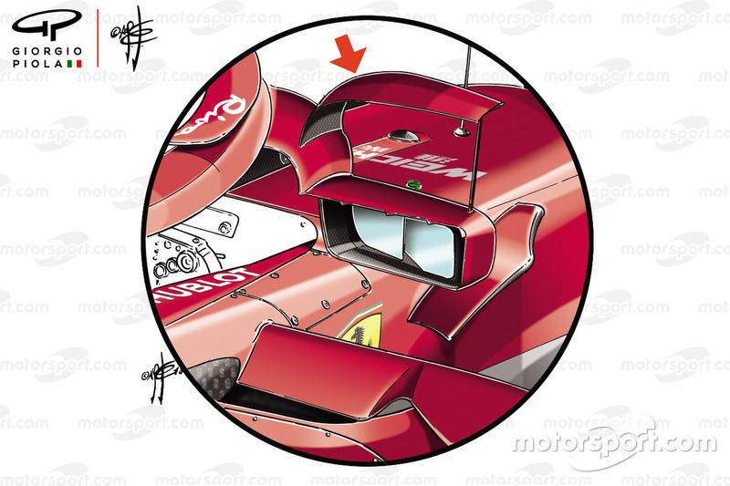 Ferrari SF71H, specchietto montato sull'Halo al GP di Spagna