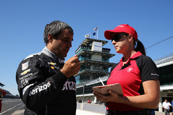 Juan Pablo Montoya with Firestone's chief engineer Cara Adams