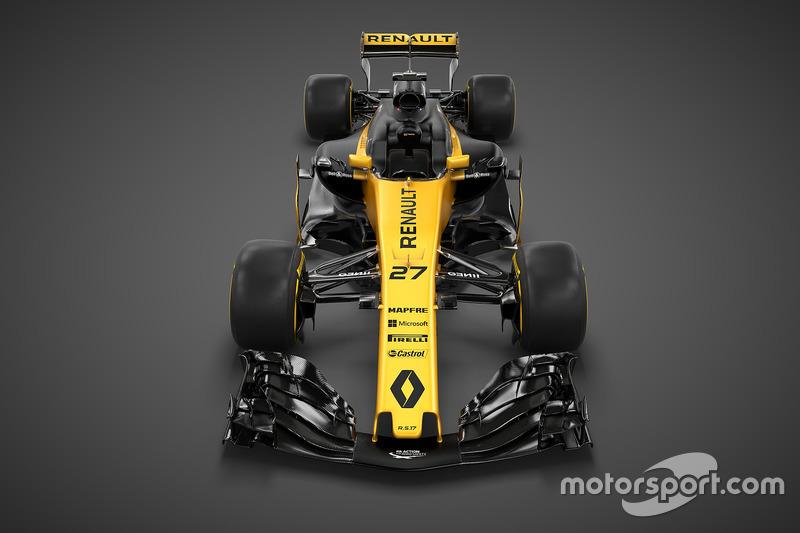 Vooraanzicht van de nieuwe Renault-bolide