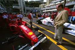 Adrian Newey takes a look at the Ferrari F310 of Michael Schumacher