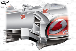 McLaren MP4-27 sidepod airflow conditioner conjoined with leading edge slat and change of mirror fins (arrowed)
