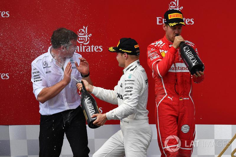 Podium: race winner Valtteri Bottas, Mercedes AMG F1 celebrates on the podium, second place Sebastian Vettel, Ferrari