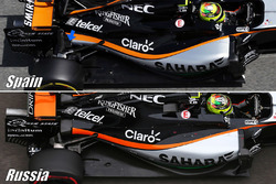 Sahara Force India F1 VJM09 suspension detail comparison