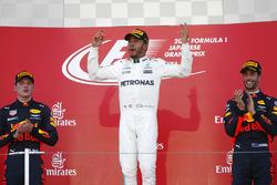 Podium: race winner Lewis Hamilton, Mercedes AMG F1, second place Max Verstappen, Red Bull Racing, third place Daniel Ricciardo, Red Bull Racing