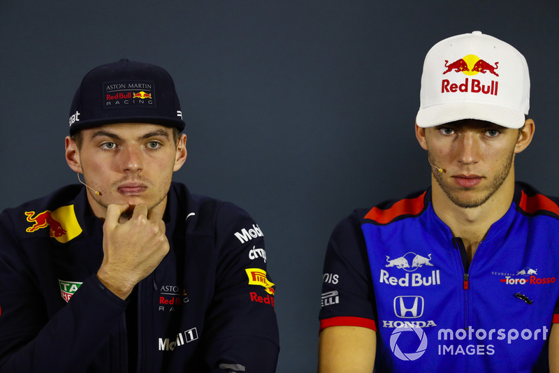 Max Verstappen, Red Bull Racing, and Pierre Gasly, Toro Rosso, in the Thursday press conference.