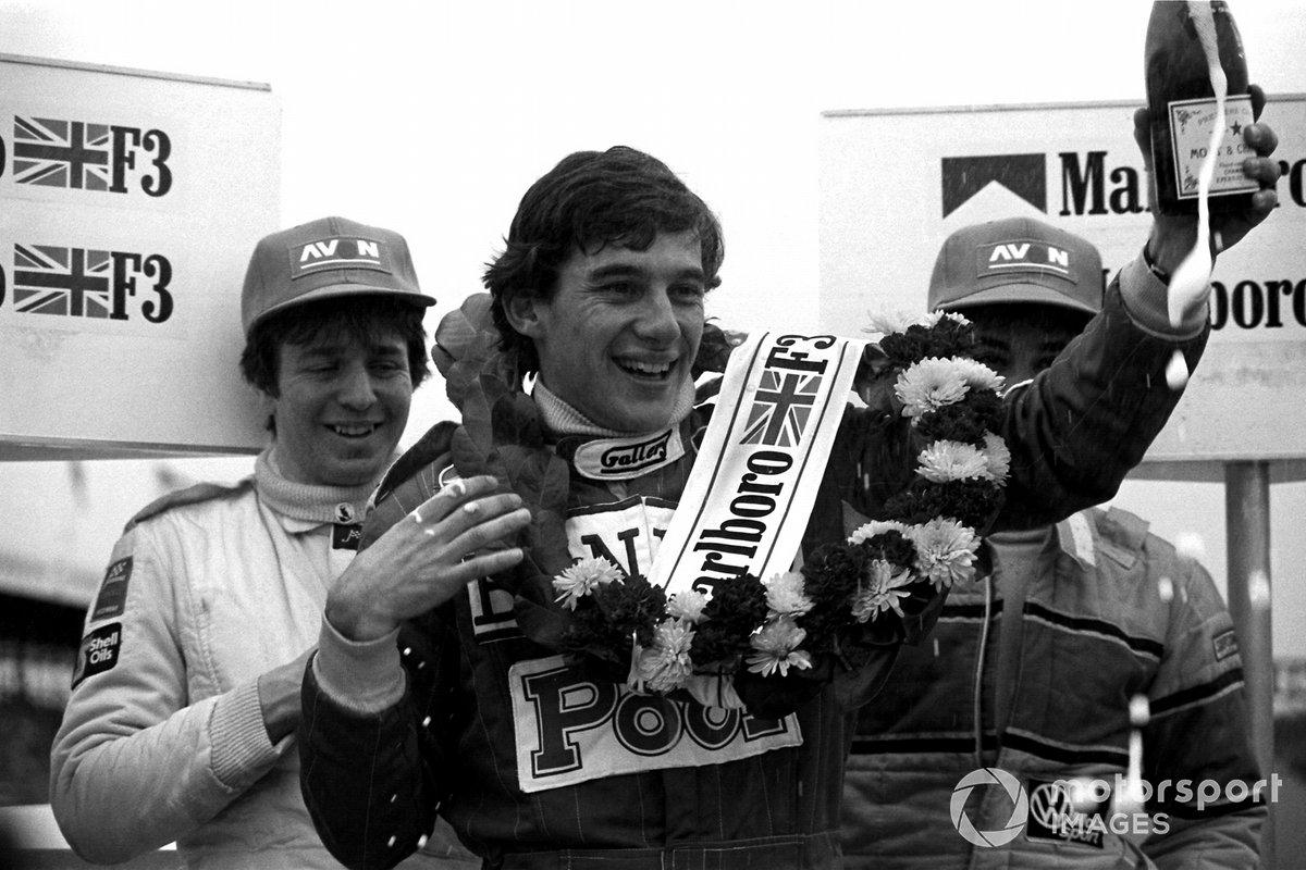 Podium: Second placed Martin Brundle, Race winner Ayrton Senna, West Surrey Racing and third place Davy Jones,