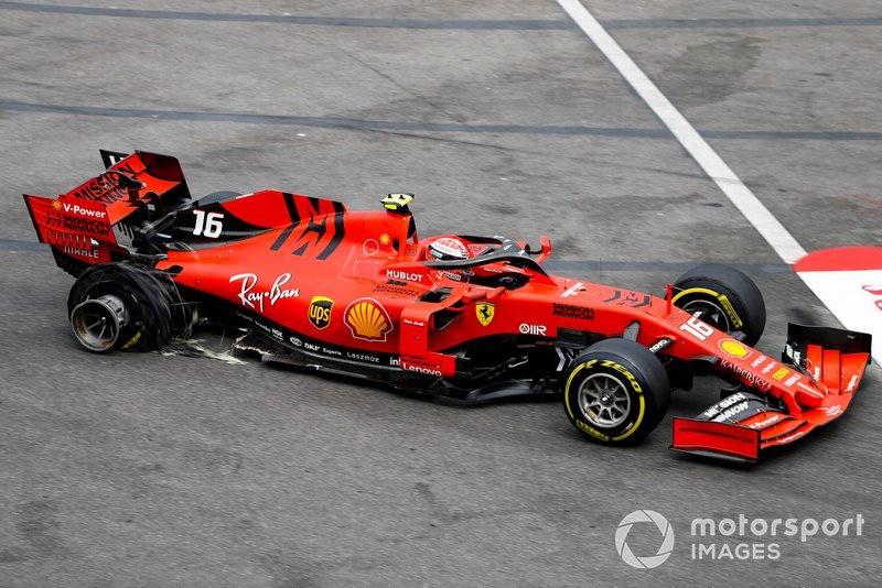 Damaged car of Charles Leclerc, Ferrari SF90