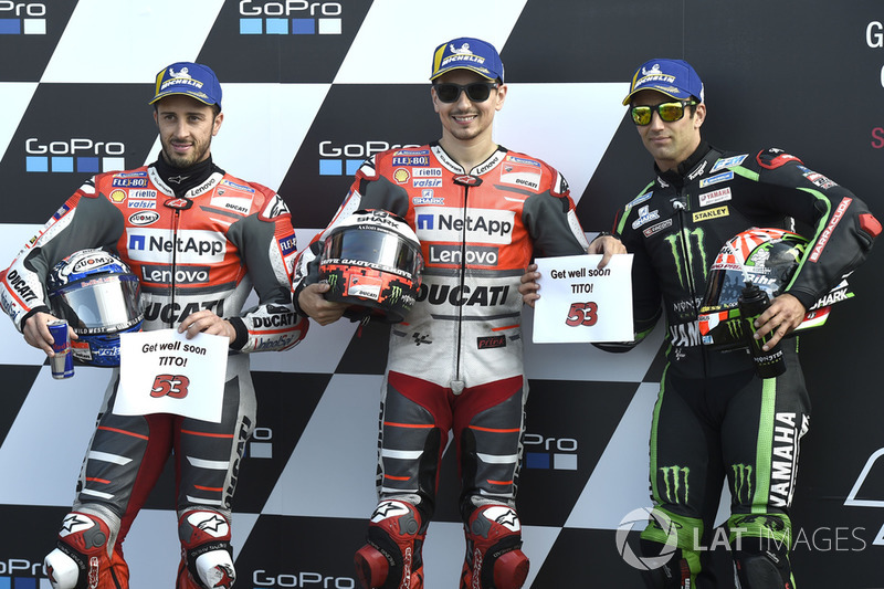 Pole, Jorge Lorenzo, Ducati Team, 2º Andrea Dovizioso, Ducati Team, 3º Johann Zarco, Monster Yamaha Tech 3