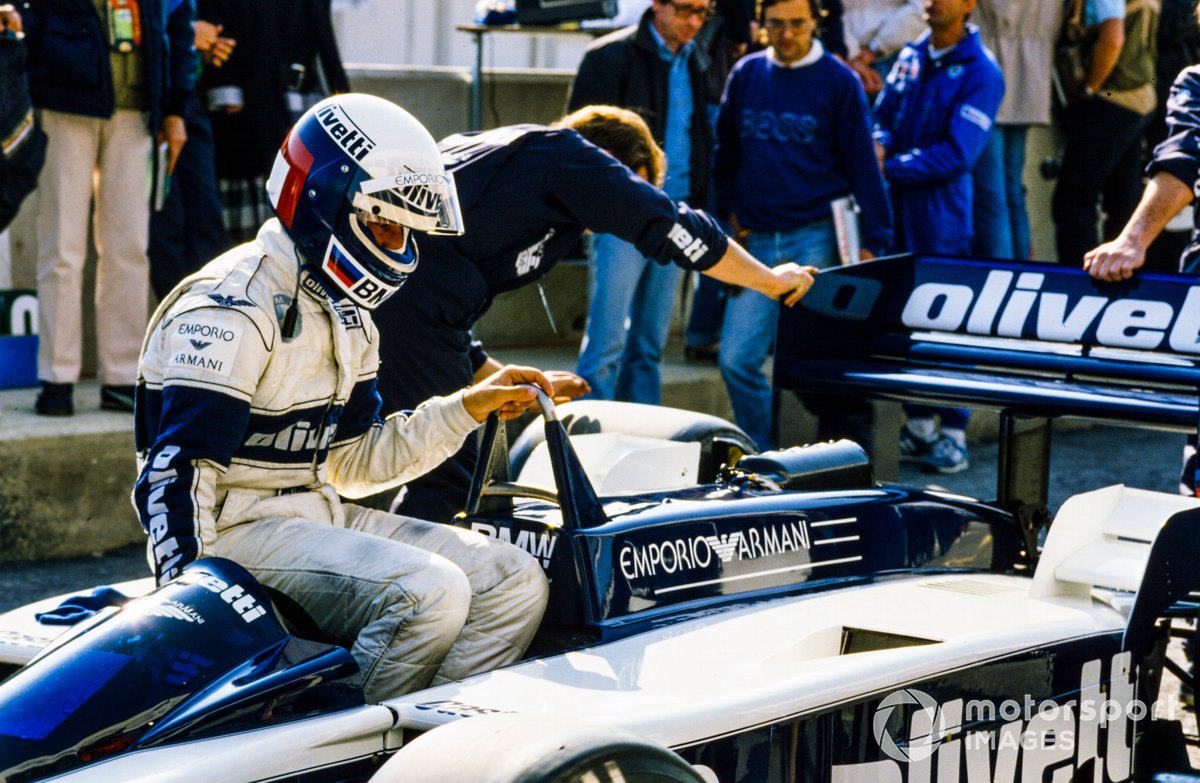 Elio de Angelis sits on his Brabham BT55 BMW in the pits