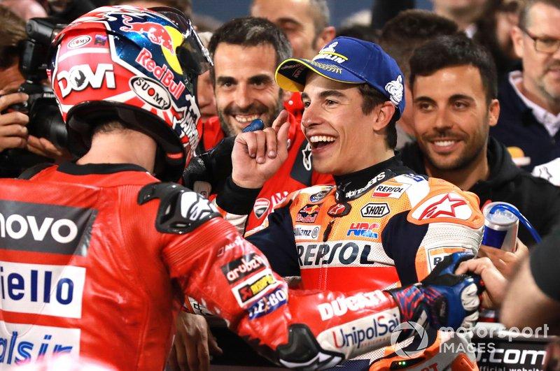 Andrea Dovizioso, Ducati Team, Marc Marquez, Repsol Honda Team al Parco chiuso