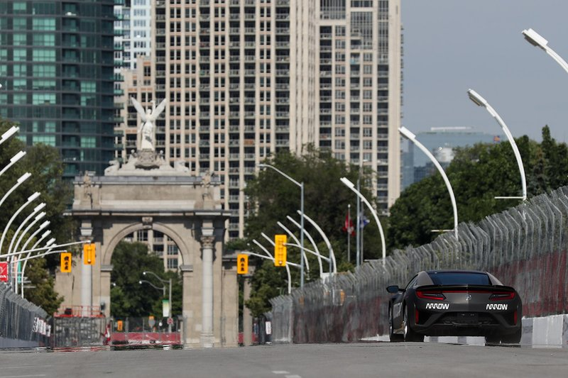 Wickens wheels the Arrow-modified Acura NSX down the front straight to Princes' Gate.