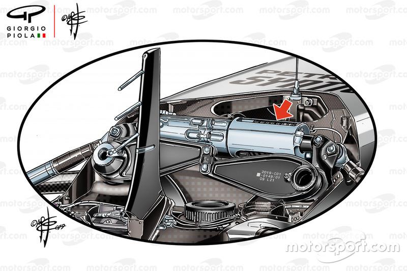 Detalle de la suspensión delantera del Mercedes AMG F1 W10