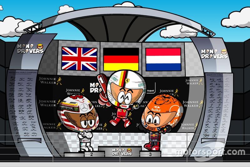 El podio dl GP de Bélgica de Fórmula 1 2018, por MiniDrivers