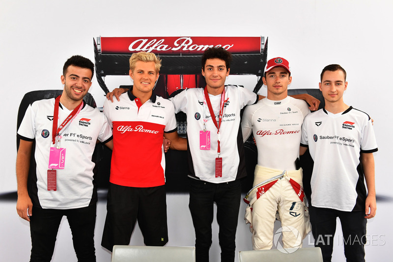 Marcus Ericsson, Sauber and Charles Leclerc, Sauber with eSports drivers