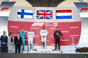 Second place Valtteri Bottas, Mercedes AMG F1, Race winner Lewis Hamilton, Mercedes AMG F1 and third place Max Verstappen, Red Bull Racing, on the podium