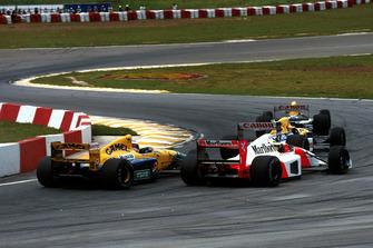 Riccardo Patrese, Williams FW14B; Nigel Mansell, Williams FW14B; Ayrton Senna, McLaren MP4/7A; Michael Schumacher, Benetton B191B