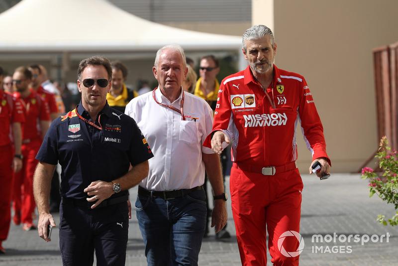 Christian Horner, Red Bull Racing, Dr Helmut Marko, Red Bull Motorsport y Maurizio Arrivabene, Ferrari